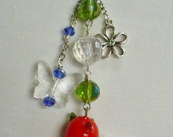 Bunny Glass Bunny with Carrot Neckalce with Butterfly and Flower Charms and Crystal Beads