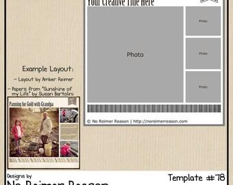 12x12 Digital Scrapbooking Template - Photoshop PSD File (Multi-Photo)