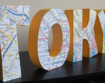 Tokyo Map Block Letters