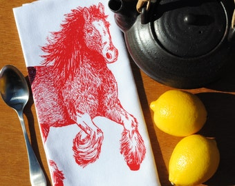 Red Clydesdale Kitchen Napkins - Eco Friendly - Screen Printed Cotton Cloth Napkins - Reusable - Horse Barnyard Animal Theme