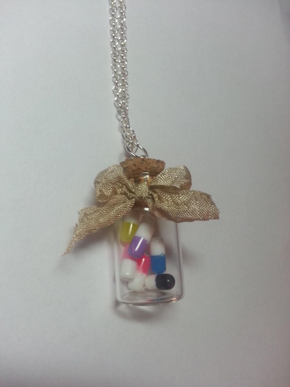mini glass bottle necklace mini bottle pendant by
