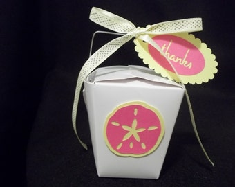 10 - Sand Dollar Chinese Take-Out Favor Boxes - Destination or Beach Theme Wedding Favor