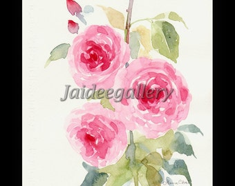Original watercolor painting, Flower painting, Floral rose painting on paper 8x10 in.