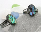 Abalone Ring - California Abalone Jewelry - Abalone Rainbow Ring - Beach Themed Jewelry