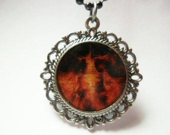 Final Fantasy 9 necklace -  Bahamut pendant on gunmetal ball chain and frame - video game jewelry - geeky