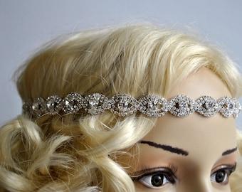 Rhinestone Headband hairpiece Great Gatsby Headband,Crystal Wedding Halo Bridal tie on ribbon Headband Headpiece, 1920s Flapper headband