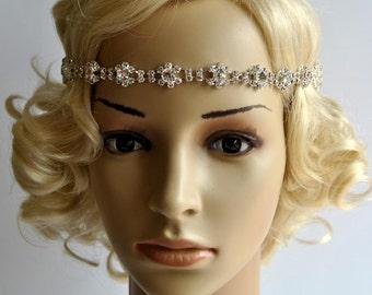Bridal Rhinestone Headband, Crystal Headband, Wedding  Bridal tie on ribbon Headband Headpiece,