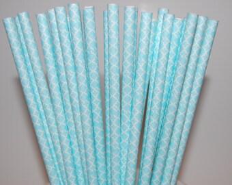 Baby Blue Damask Diamond Paper Straws - 25/Pack