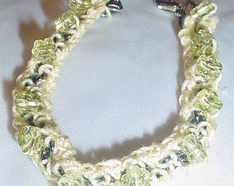 Crochet Braecelet Chain Bracelet  Beaded Bracelet Flower Beads Yellow Bracelet