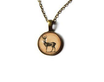 Royal deer pendant forest animal jewelry Antique style  Vintage looking NW133