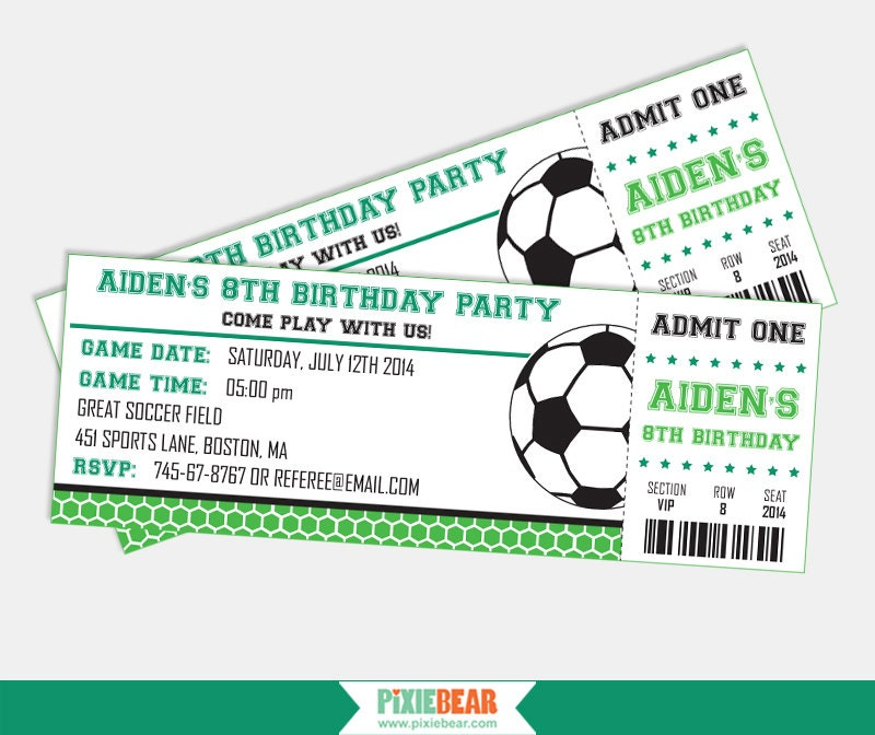 soccer party invitation soccer birthday by pixiebearparty on etsy, Birthday invitations