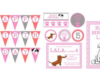 Puppy Birthday Party Package- Pup-fect Paty Printables- Puppy Birthday Party Printables- Puppy Birthday Party Theme