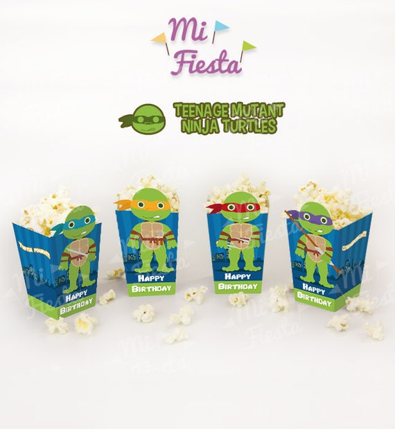 Teenage Mutant Ninja Turtles Inspired Inspired popcorn or treat box Birthday Party Printables / Instant Digital Download DIY