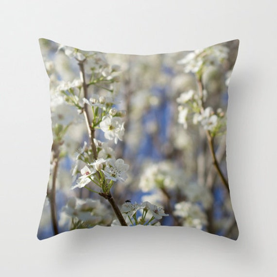White and Blue, Pillow Cover, Nature Photography, Photo Pillow Cover, Pear Tree Flower, Flower Pillow, Throw Pillow, Bedroom Pillow, Outdoor