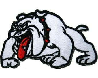 White Bulldog Iron on Patch