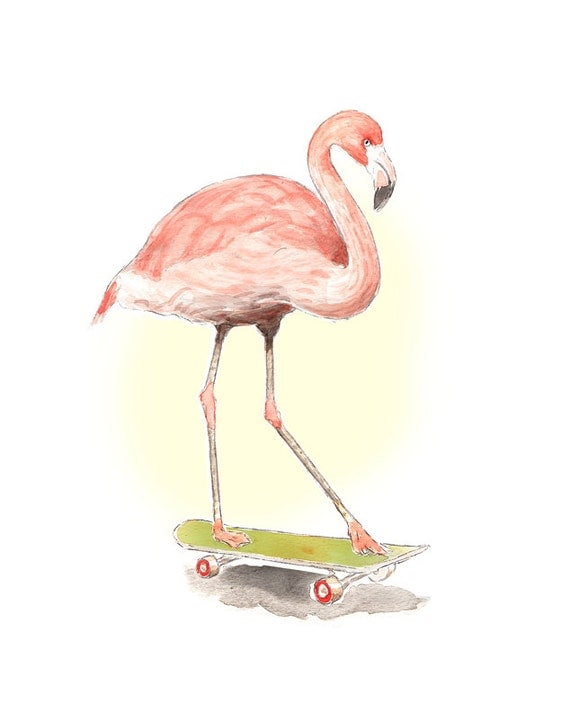 Animal watercolor art - Flamingo on Skateboard - Childs room Nursery ...