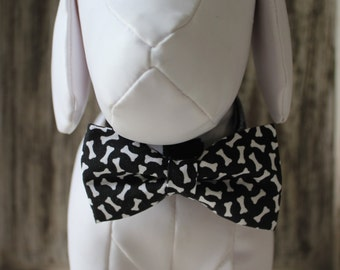 Bow Tie  Collar Attachment & Accessory for Dogs and Cats - Black and White Bones OR Paw Prints Dog Bow tie