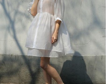 Lost in Kyoto Spring white or mint transparent fluffy shirt dress