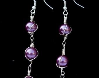 Wire Wrapped Dangle Burgundy Pearls Earrings  beaded Handmade Earrings Best Friend Gift Idea