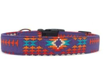 Purple Tribal Pattern Southwestern Dog Collar