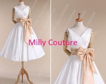 short wedding dress, 1950's wedding dress,tea length wedding dress , simple short wedding dress,vintage wedding dress,item:Fairy
