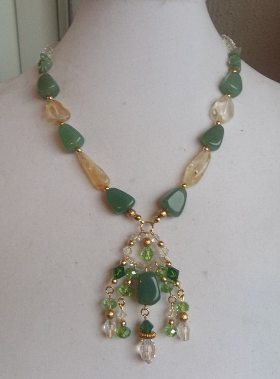 Jade and Citrine Gemstone Necklace