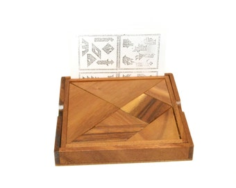 Tangram, Tangram Puzzle Game, Jigsaw Puzzle, Wooden Game, Woodworking, Gift Size M