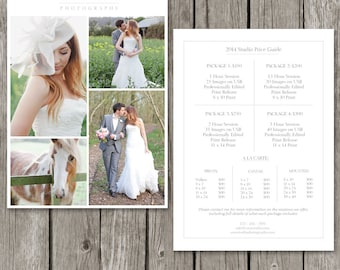 Photography Price List Template - Wedding Price Sheet - Photographer Pricing Guide - PG03