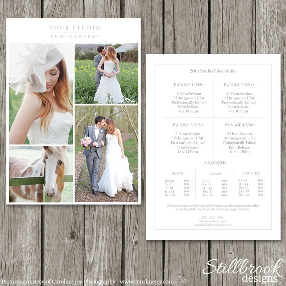 Photography Price List Template Wedding Price Sheet