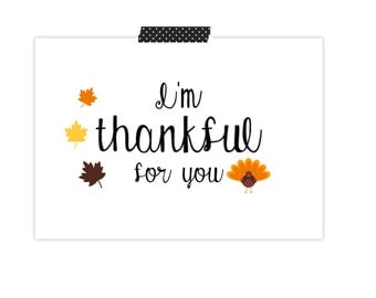 Thanksgiving Card- I'm Thankful For You Card- Turkey Card