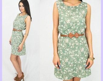 Floral Moss Green Summer Dress // Sleeveless // Vintage
