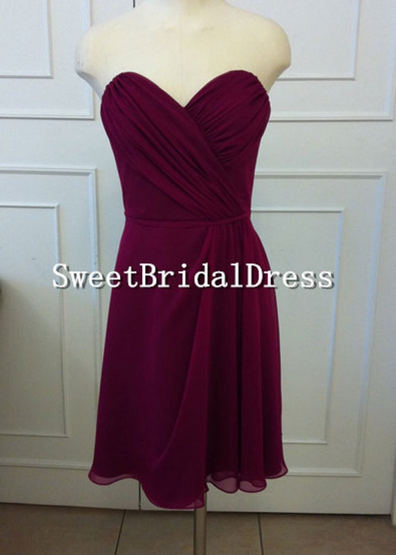 Custom Strapless Sweetheart Wine Red Ruffles Short Chiffon Dress Prom Dress Evening Dress Formal Dress Short Bridesmaid Dresses Party Dress