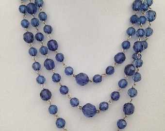 Vintage - 1980 Blue Coloured Plastic Beads - Triple Strand Necklace - Wedding - Party