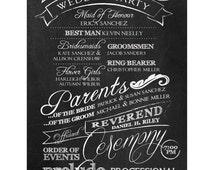 Custom Wedding Program & Sparkler Holder, Vintage Handwritten Chalkboard Style, Printable, DIY