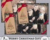 "Photo Card Template - ""We Wish You a Merry Christmas"" Tree - Green - 4x6 - 4x8 - 5x7 - Instant Download"