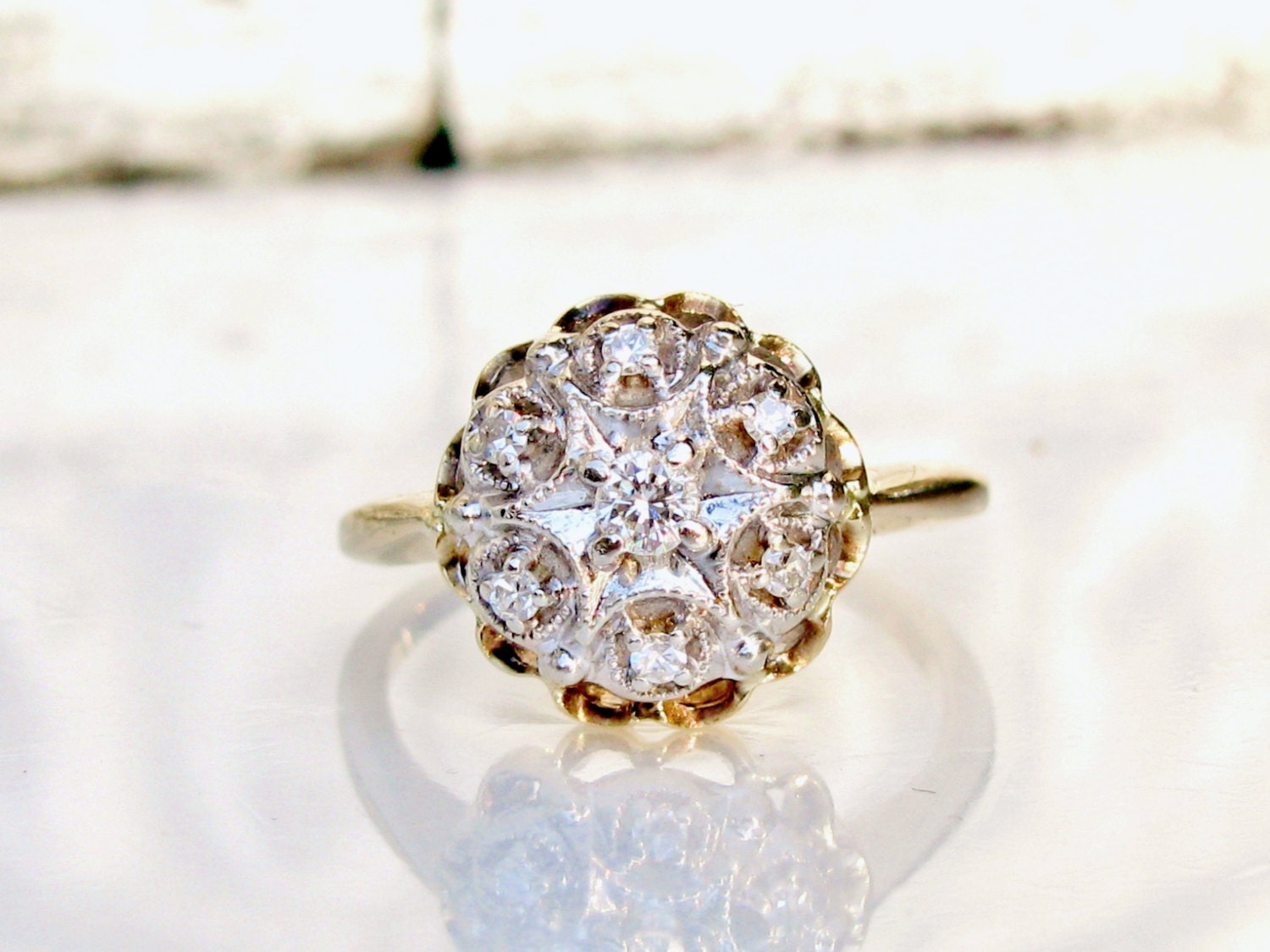 vintage engagement ring two tone 14k gold ring