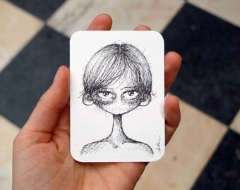 ACEO original big eye art trading card, quirky cute drawing, unique black and white illustration, lowbrow pop surrealism goth fantasy art