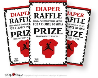 Boy Basketball Diaper Raffle Tickets Printable For Baby Boy Shower DIY Red  Black Air Jordan
