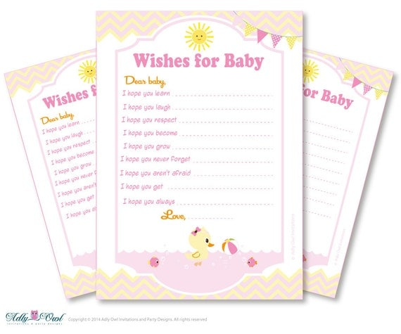 Girl Duck Wishes For A Baby Shower Well Wishes Yellow Pink