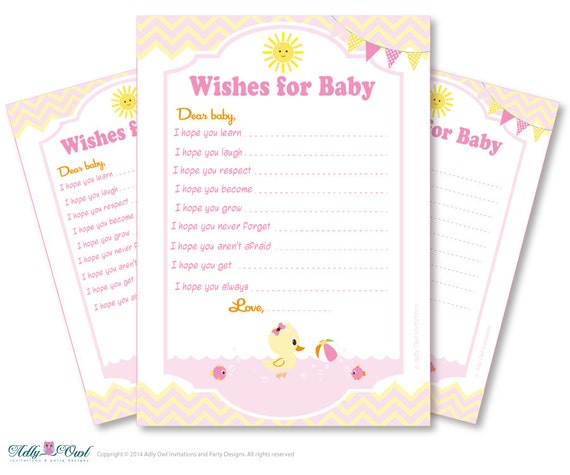 wishes for a baby shower well wishes yellow pink baby duck shower