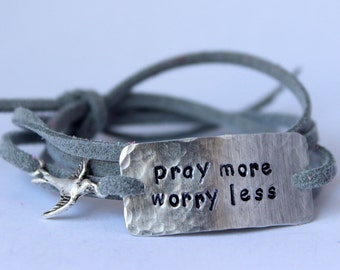 "inspirational quote bracelet with bird charm, ""pray more worry less"", wrap bracelet, faux suede bracelet"