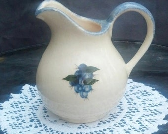 Collectible Ceramic Pitcher with Blueberries / Signed Art Pottery / Collectible Blueberry Pottery / Country Decor / Maine Artware / F213