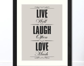 Live Laugh Love Typographic Print | Available Framed or Unframed