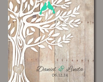 """Love Birds in Tree, Personalized Wedding Gift, Newly Weds Gift Family Tree Art, Names Wedding Date, Print 11""""x14"""""""