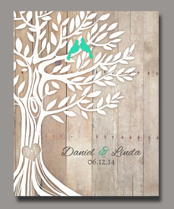 Love Birds In Tree Personalized Wedding Gift Newly Weds Gift