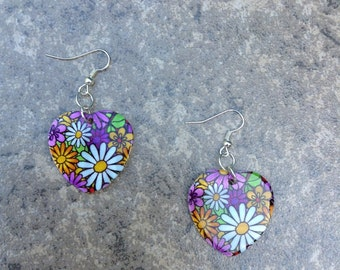 Multi-Colored Floral Heart Earrings