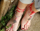 Pink Barefoot Sandals. Hippie Shoes. Gypsy Bellydance Shoes