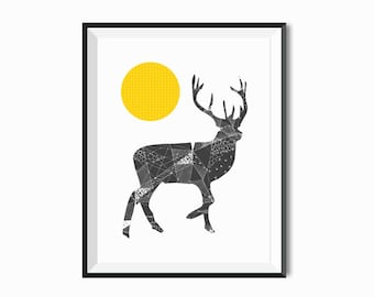 Deer art Faceted Triangle art Geometric Giclee art prints Wall art woodland drawings unique art black and white Pen & Ink Geometric Decor
