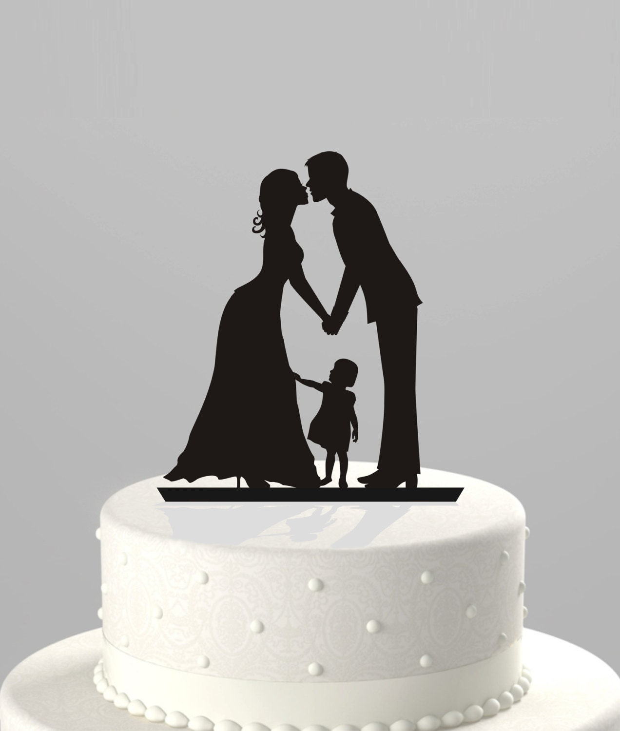 Wedding Cake Topper Silhouette Groom and Bride by