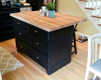 rustic handcrafted kitchen island with butcheru0027s block maple top solid wood butcher block with bar. beautiful ideas. Home Design Ideas